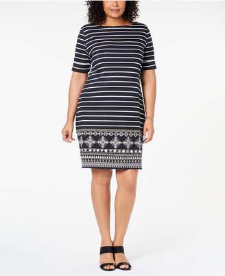 Karen Scott Plus Size Striped Dress