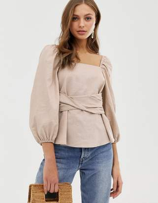 Asos Design DESIGN long sleeve square neck top with volume sleeves in linen look fabric
