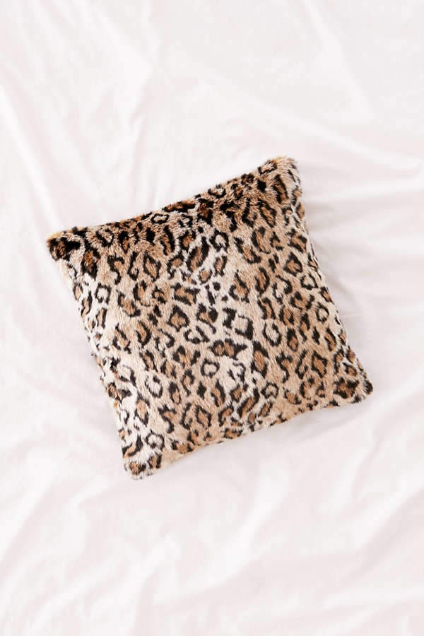 Leopard Print Faux Fur Pillow