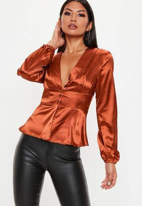 Missguided Rust Button Through Blouse