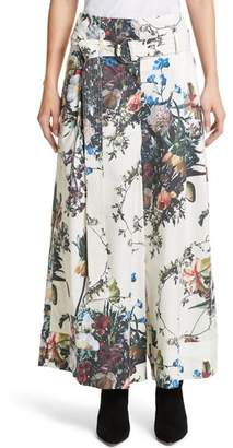 ADAM by Adam Lippes Floral Print Cotton Poplin Tie Waist Pants