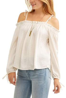 No Comment Juniors' Smocked Cold Shoulder Long Sleeve Peasant Blouse