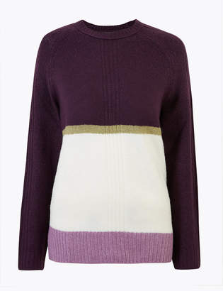 Marks and Spencer Cosy Colour Block Relaxed Fit Jumper