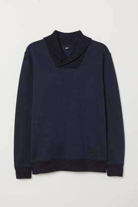 H&M Shawl-collar Sweatshirt - Blue