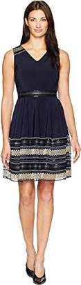 Tahari by Arthur S. Levine Women's Sleeveless Fit and Flare Dress with Embellished Hem