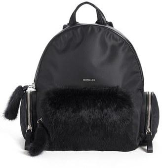 Moncler 'Florine' Genuine Rabbit Fur Trim Backpack - Black $755 thestylecure.com
