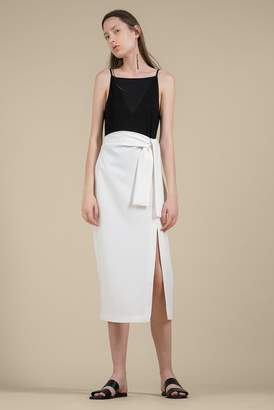 Genuine People Belted High Waist Midi Skirt