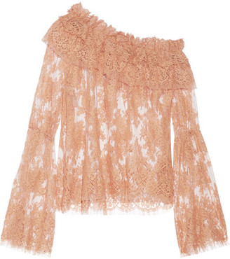 Zimmermann - Bowerbird One-shoulder Cotton-blend Corded Lace Top - Sand $1,300 thestylecure.com