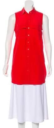 Equipment Silk Sleeveless Button-Up Tunic Top