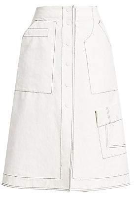 3.1 Phillip Lim Women's Exposed Seam A-Line Twill Skirt