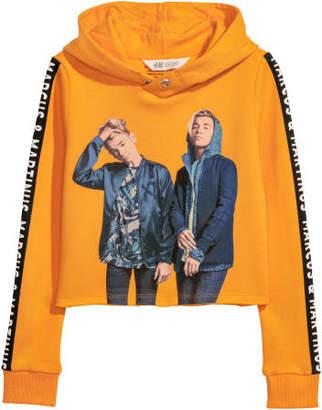 H&M Short Printed Hooded Top - Orange