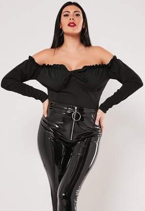 Missguided Plus Size Black Ruffle Milkmaid Bodysuit