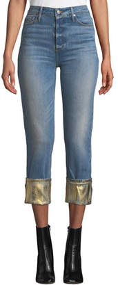 Black Orchid Taylor High-Rise Straight-Leg Jeans w/ Foiled Hem