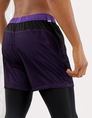 Asos 4505 training shorts in short length with mesh overlay