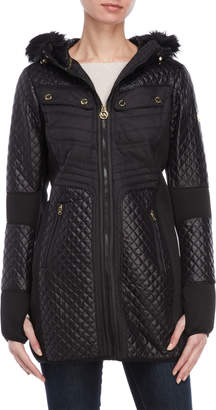 MICHAEL Michael Kors Faux Fur-Trimmed Mix Media Coat