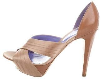 Sergio Rossi Satin & Leather Platform Sandals