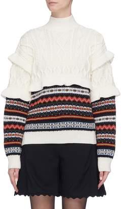 Philosophy di Lorenzo Serafini Ruffle colourblock virgin wool mix knit sweater