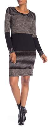 Max Studio Long Sleeve Stripe Sweater Dress