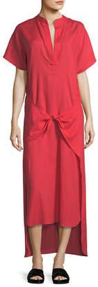 Vince Tie-Front Slit-Neck Short-Sleeve Long Poplin Dress