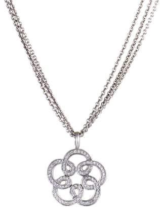 Tous 18K White Gold & 0.85ct. Diamond Flower Pendant Petite Necklace
