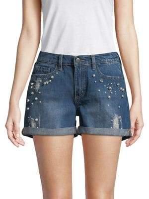 Buffalo David Bitton Faux Pearl-Embellished Denim Shorts