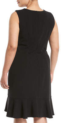 Iconic American Designer V-Neck Ruffle-Hem Dress, Plus Size