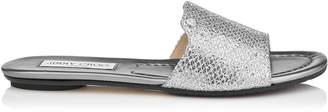 Jimmy Choo NANDA Silver Glitter Fabric Slides