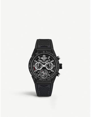 Tag Heuer CAR5A8WFT6071 Carrera calibre 02 automatic titanium and rubber strap chronograph watch