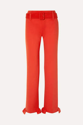 Prada Belted Ruffled Tech-jersey Straight-leg Pants - Tomato red