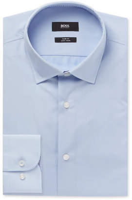 HUGO BOSS Light-Blue Jesse Slim-Fit Cotton-Poplin Shirt