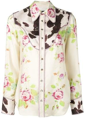 DSQUARED2 floral and cow print bib shirt