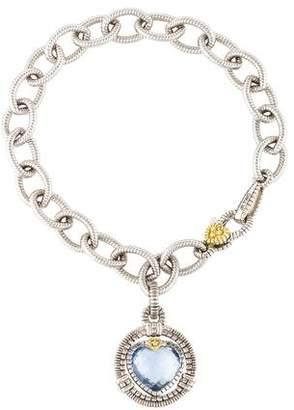 Judith Ripka Synthetic Quartz & Diamond Athena Charm Bracelet