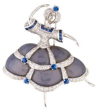 18K Chalcedony, Sapphire & Diamond Ballerina Brooch white 18K Chalcedony, Sapphire & Diamond Ballerina Brooch