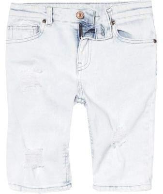 Boys light blue ripped denim shorts