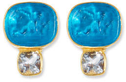 Dina Mackney Italian Crystal & Topaz Stud Earrings