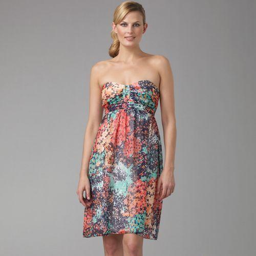 Shoshanna Floral Strapless Dress