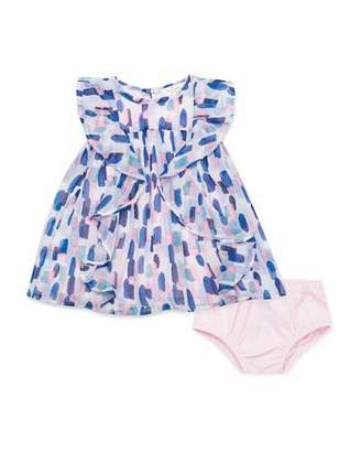 Kate Spade Brush Stroke-Printed Ruffle Dress W. Solid Bloomers, Size 12-24 Months