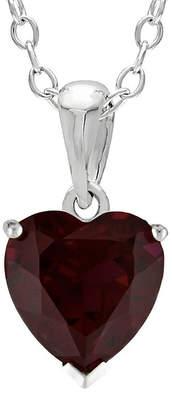 JCPenney FINE JEWELRY Heart-Shaped Genuine Garnet Sterling Silver Pendant Necklace