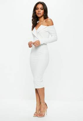 Missguided White Bardot Foldover Wrap Midi Dress