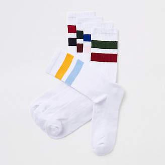 River Island White stripe tube socks multipack