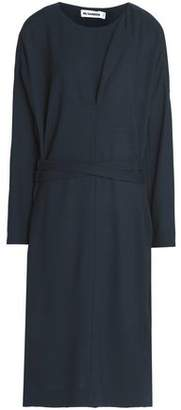 Jil Sander Belted Wool-Crepe Dress