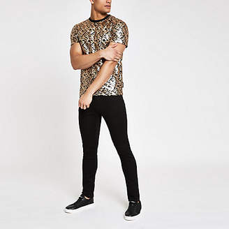 River Island Jaded London black leopard sequin T-shirt
