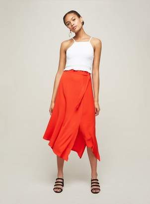 Miss Selfridge Red asymmetric midi skirt
