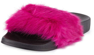 Lust For Life Cruise Rabbit-Fur Slide Sandal