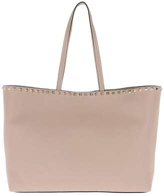 Valentino Rockstud Studded Shopping Bag Leather Poudre