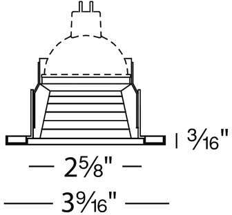 W.A.C. Lighting 2.5 Inch Low Voltage Metal Trim with Step Baffle - 834