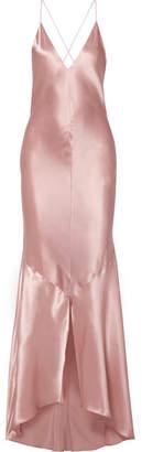 Michael Lo Sordo Asymmetric Silk-satin Maxi Dress - Blush
