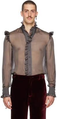 Palomo Spain Grey Sheer Ruffled Shirt