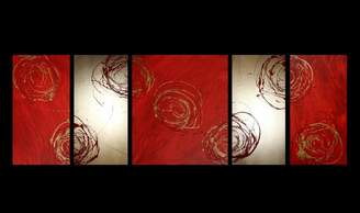 Decor Abstract Art 5 Piece Abstract Canvas Painting in Red and Gold