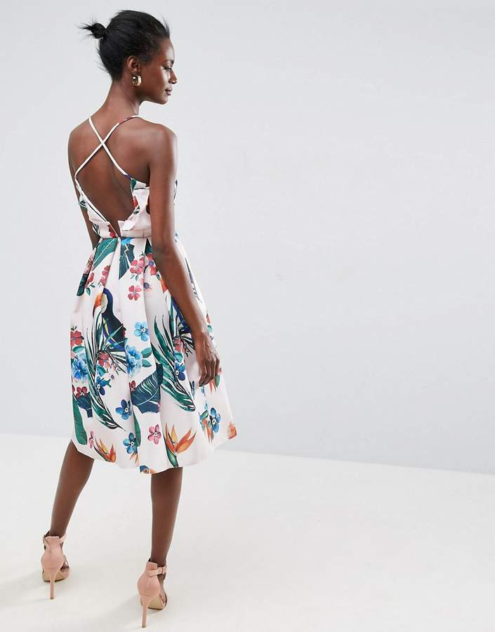 Asos ASOS Tropical Ruffle Back Midi Prom Dress